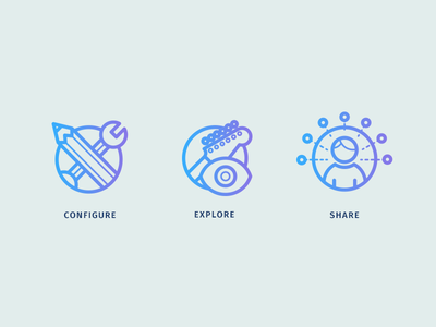 Stagequip Landing Icons icons iconset stagequip configure explore share music landing page instrument startup social network gradient icon