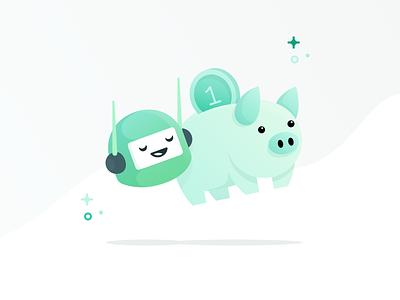 Meet Oval Bot piggybank saving buddy ios bot piggy walkthrough money app illustration icon