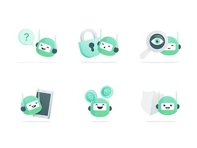 Oval Bots onboarding shield phone magnify lock saving money ios app icon illustration bot