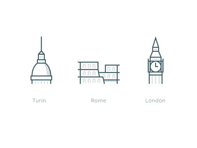 Oval city icons pixel-perfect website ui cities london rome turin icon set icons