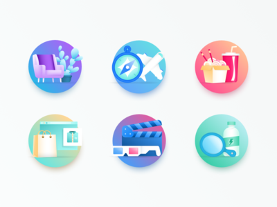 Step Illustrations illustrations icon app ios saving cactus compass shopping wellness drink noodles icon set