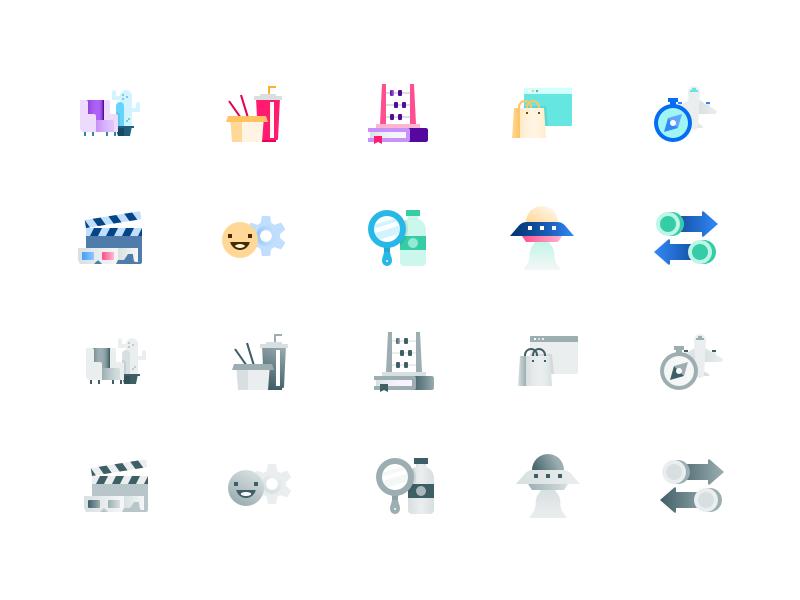 PFM icons - 32x32 ufo icon set noodles drink wellness shopping compass cactus saving ios app icon