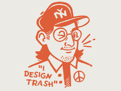 I DESIGN TRASH design trash self branding logo vintage flat screen print illustraion orange character sketch self portrait