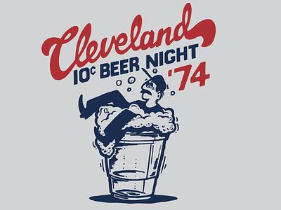 10 Cent Beer Night design 70s mascot character beer branding logo retro vintage screen print illustration cleveland