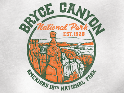 Bryce Canyon National Canyon vacation teeshirt type art print backpacking destination utah branding outdoors design teedesign retro vintage screen print illustration camping hiking national park bryce canyon