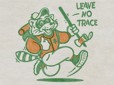 Leave No Trace design backpacking nomad raccon good vibes nature outdoors illustration vintage retro screenprint mascot character animal camping hiking leave no trace