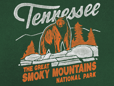 Great Smoky Mountains National Park Tennessee orange typeface script americana shirt tee shirt park screen print retro illustration vintage tennessee nature outdoors bear hiking camping national park smoky mountains