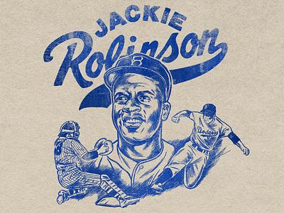 Jackie Robinson for hire design branding history old sketch hand drawn portrait black history mlb dodgers la baseball jackie robinson print retro screen print vintage illustration