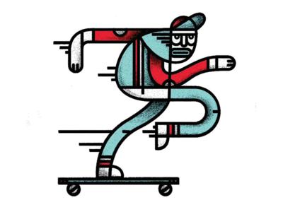 He Was A Skater Boy flat illustration motion character long board minimal urban longboard hip skateboard skater