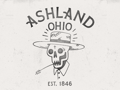 Small Town Love N line art folk art americana flat illustration usa country ohio amish skull folk