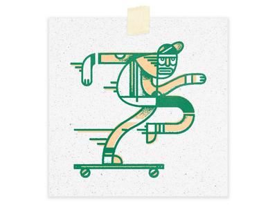 He Was  A Skater Booiiiii trend vaporwave illustration niece skate board screen print peach green 90s skater
