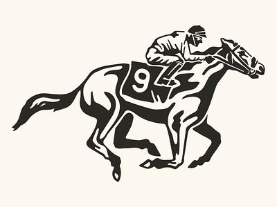 And They're Off Jockey flat print ink 2018 screen print illustration kentucky race horse jockey
