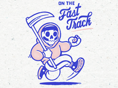 On The Fast Track for sale track time skull screen print mascot illustration grimreaper edgy character 90s