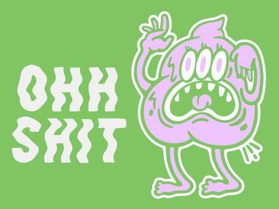 Dont Give Ah **** politics 90s screen print illustration chill trippy poop street green punk skate sticker pink illustrator monster