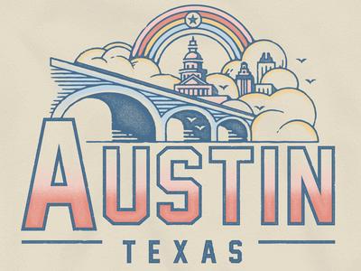 Austin Texas chill yellow vintage destination screen print print illustration austin texas shirt tee shirt 90s city rainbow texas austin