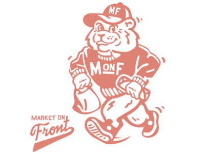Market On Front branding rebrand usa illustration missoula montana college food character varsity orange logo coffee burrito screenprint mascot
