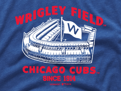 Wrigley Field illustration screen print tee shirt shirt minimal retro vintage wrigley field stadium homage cubs chicago cubs chicago baseball mlb