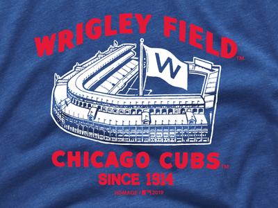 Wrigley Field illustration screen print tee shirt shirt minimal retro vintage wrigley field stadium homage cubs chicago cubs chicago baseball mlb