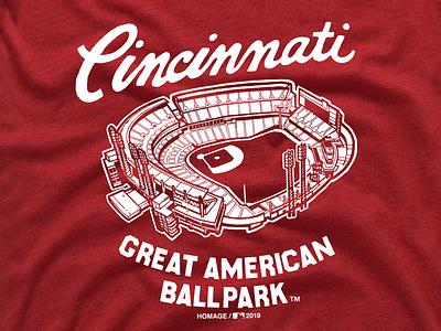 Great American Ballpark america national illustration screen print homage ballpark red t shirt great american ballpark reds baseball cincinnati mlb