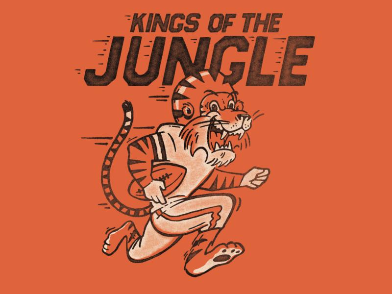 RUMBLE IN THE JUNGLE hand drawn screenprint shirtdesign retro vintage mascot design insperation running cat ohio jungle simple illustration bengals orange mascot tiger football cincinnati