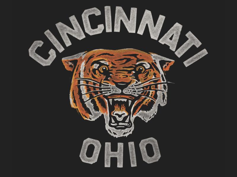 CINCINNATI TIGER print screen print inspiration t shirt tee ohio 80s retro vintage edgy cat tiger city illustration mascot city football bengals cincinnati