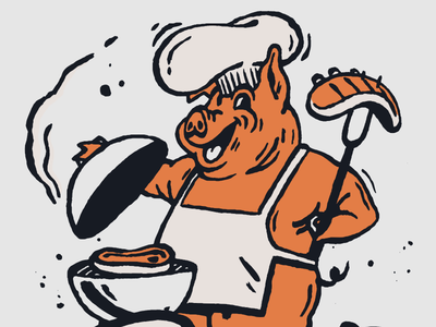 BOOGS BBQ Mascot southern chief barbecue cook out screenprint retro vintage orange illustration character restaurant branding restaurant pork pig mascot logo food bbq
