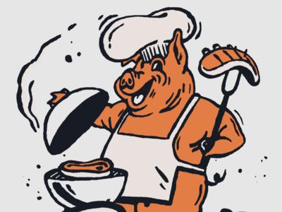 BOOGS BBQ Mascot southern chief barbecue cook out screenprint retro vintage orange illustration character restaurant branding restaurant pork pig mascot logo food bbq