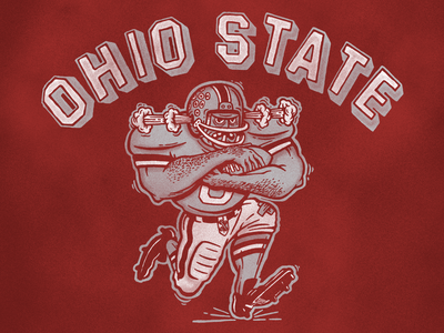 Ohio State collage retro 90s 80s vintage screenprint illustration ohio sports football ohio state