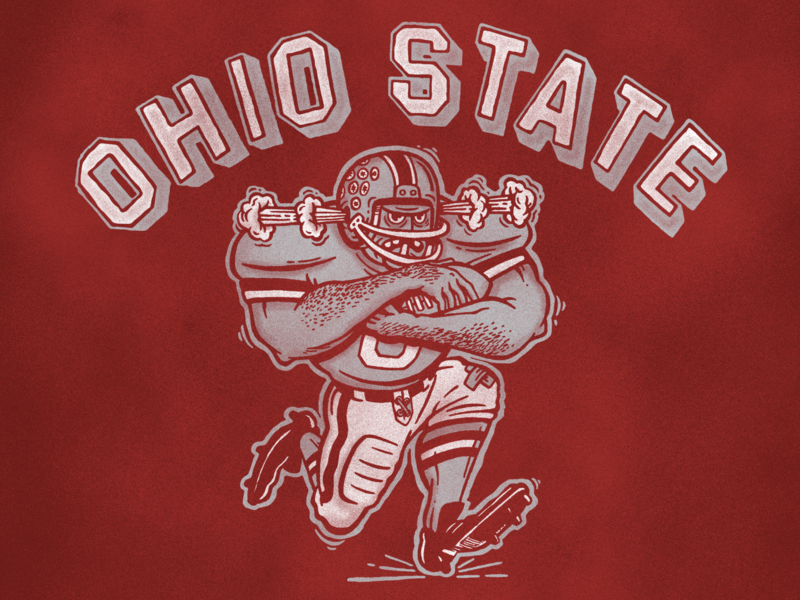 Ohio State collage retro 90s 80s vintage screenprint illustration ohio sports football ohio state