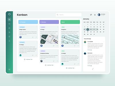 Kanban-Task Management Dashboard modern design 2021 ui design ui  ux uiux webapp dashboard design dashboard kanban board kanban dashboad ui branding concept creative