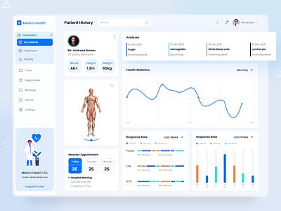 Medico Health - Patient History dashboard ui 2021 trend ui  ux saas design patient hospital medical dashboard ui