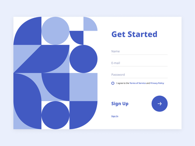 Sign in – Sign up Webdesign form blue registration signin sign in dailyui001 dailyui sign up signup log in login geometry user interface interface web design webdesign web design ux ui
