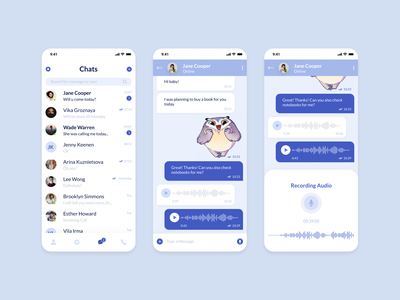 Messaging Mobile App (Telegram Redesign) freebie uplabs user communication app social app social messaging app messaging chat voice audio app audio message app messages message application app design app ux ui