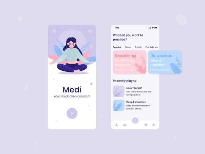 Meditation App mobile sleep app sleep relax mindful mindfulness meditation app meditation meditating illustraion vector user interface illustration interface ux design ui android mobile app app