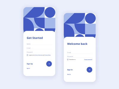 Sign in – Sign up form - Mobile blue user interface design ux ui mobile illustration geometry dailyui dailyui101 sign in ui sign in form sign in sign up registration form