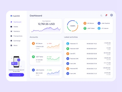 Cryptocurrency wallet money investing dashboad finance dashboard exchange finance fintech app fintech bitcoin exchange bitcoin wallet bitcoin blockchain crypto exchange cryptocurrency crypto wallet crypto web design webdesign ux ui