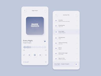Neumorphism music app dailyui009 ux ui interface mobile listening audio podcast spotify clean minimalistic player music app music ui trend newmorphism skeuomorphism soft ui neomorphism neumorphism