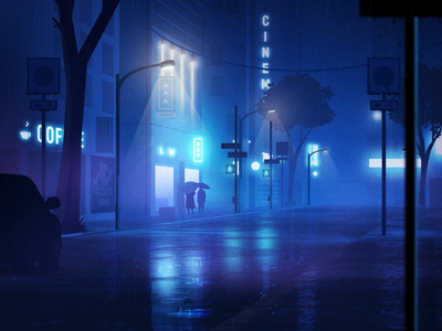 Night City - 1/6 Sleep Scene rig dribbble characters sleep ui design icons motiongraphics after effects flat loop blue gif character motion graphics illustration 2d colors inspiration animation