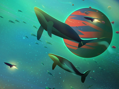 Space Whales - 3/6 Sleep Scene flat app icons ui dribbble motiongraphics after effects green space whales sleep loop gif character motion graphics 2d illustration colors inspiration animation