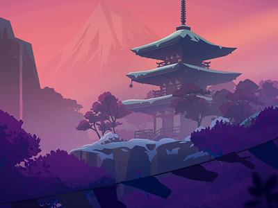 Asian Temple - 2/6 Sleep Scene sleep 3d cinema4d vector violet japan temple design after effects loop gif motion graphics illustration 2d colors inspiration animation flat