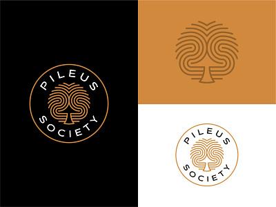 Pileus Society - Logo Design modern unique clothing streetwear trippy mark gold vector mushroom psychedelic elegant logo premium