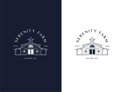 Serenity Farm - Logo Design custom barn classy clean lineart logo illustrator vector classic farm agriculture