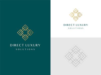 Direct Luxury Solutions - Logo Design geometric distribution marketing design illustrator mark logo vector expensive green gold premium solutions luxurious luxury direct