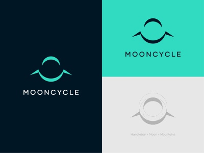 Mooncycle - Logo Design clever cycle mountain bike illustrator minimalistic minimalist mark clean premium subtle outdoor mountain bicycle moon teal logo doublemeaning space modern abstract