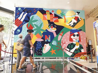 AZUR / Mural exhibition summer wallpainting mural art illustration design