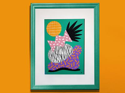 Totem - Zebra pattern painting acrylic art illustration