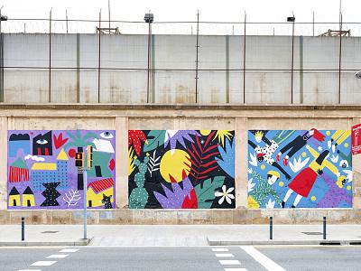 Us festival / Mural street art street wallpainting mural painting acrylic art illustration