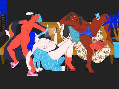 Chilling digital art design illustration