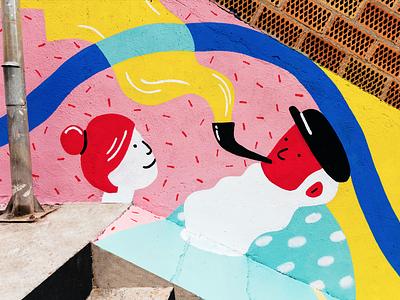 Vincles / Mural street art street wallpainting mural painting art illustration