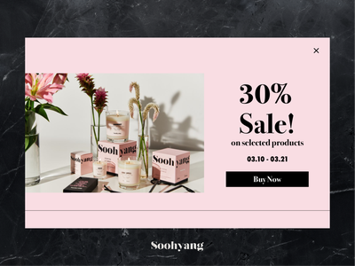 Special Offer (Soohyang) pink off sale special offer typography branding soohyang popup website web candle ui ux dailyuichallenge